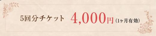 5回分チケット4,000円(1ヶ月有効)