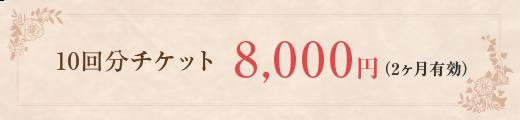 10回分チケット8,000円(2ヶ月有効)